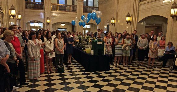 A large crowd gathered at the Department of Education Tuesday afternoon to honor education Commissioner Robert Hammond on his retirement.