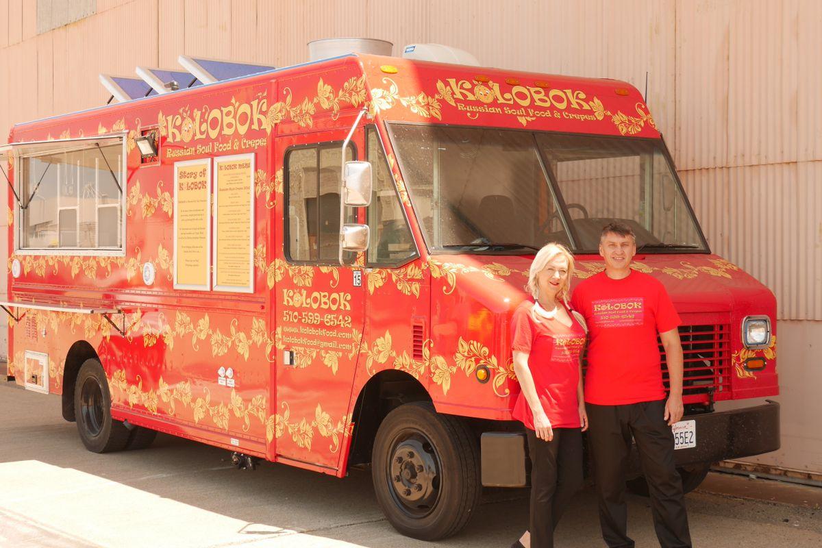 Chefs Ellen Doren and Bulat Nasybulin Kolobok in front of their food truck, Kolobok Russian Soul Food Truck