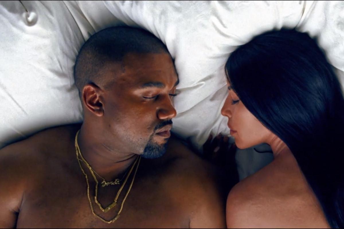 "Kanye West and Kim Kardashian in ""Famous."""