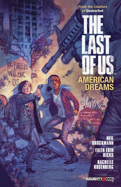 A gunman threatens Ellie and her friend Riley on the cover of The Last of Us: American Dreams (2013).