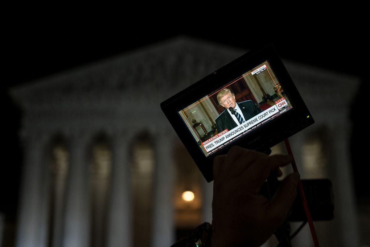 Television camera monitor showing Donald Trump.