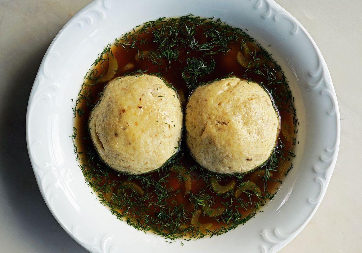 Matzo ball soup at Che Fico