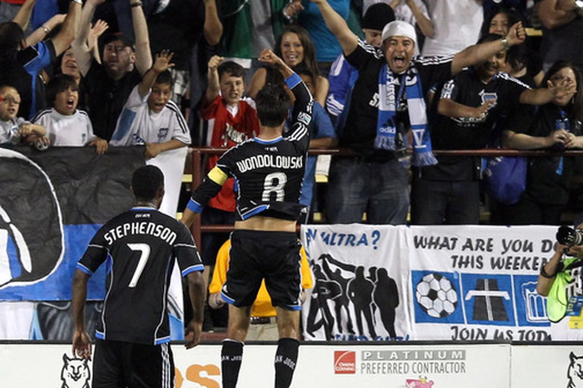 Here's San Jose Earthquakes forward Chris Wondolowski celebrating a goal. It happens a lot. If D.C. United wants to avoid seeing this picture repeated tonight, denying service to Wondo will be vital.