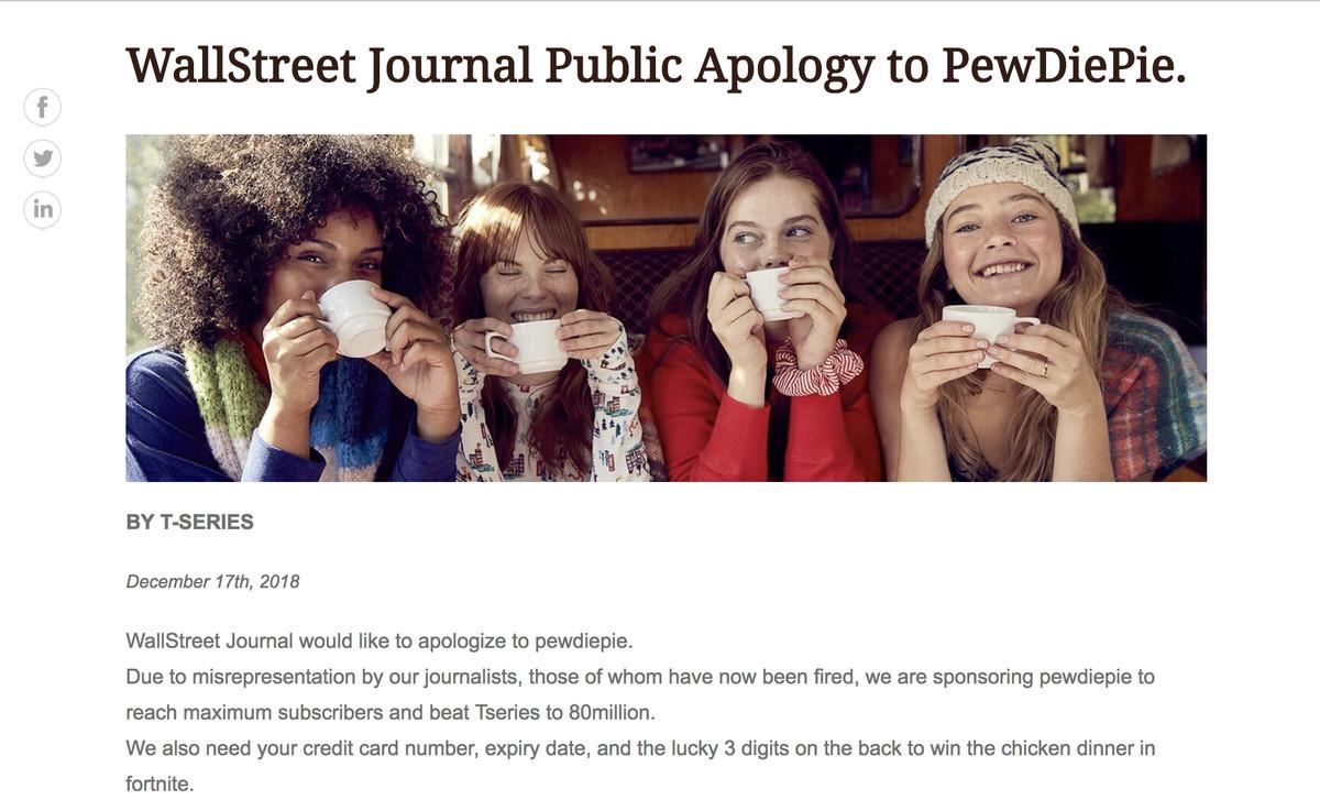 PewDiePie fans hack the Wall Street Journal - The Verge