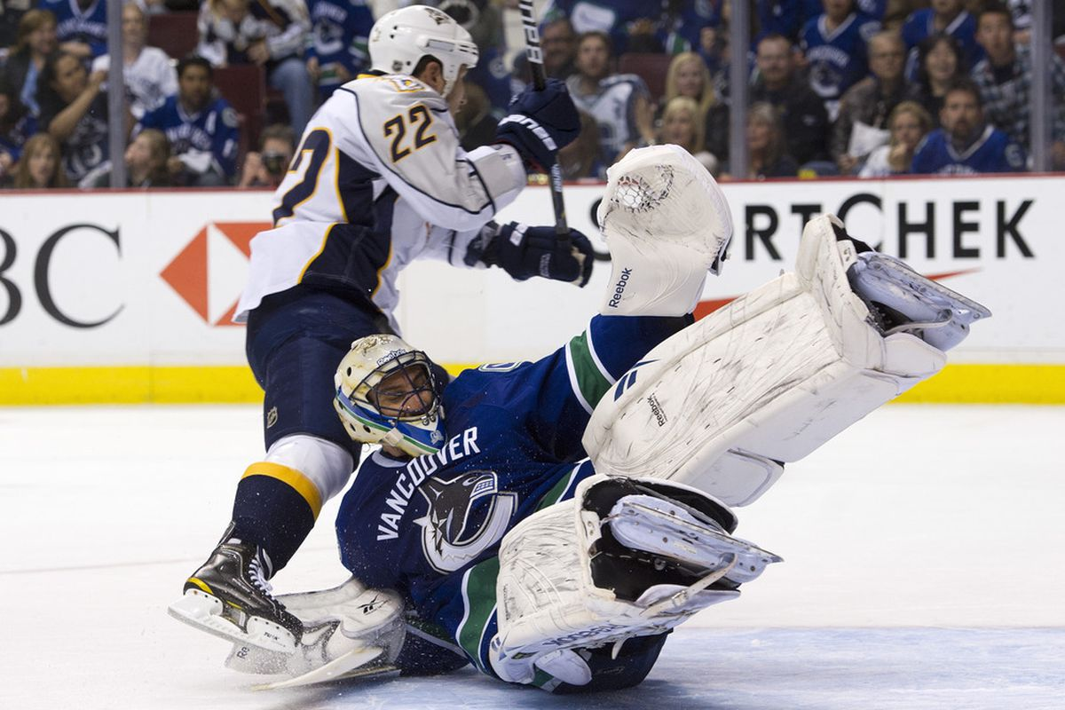 Tootoo is going to be running goalies for us all lockout shortened season long  (Photo by Rich Lam/Getty Images).