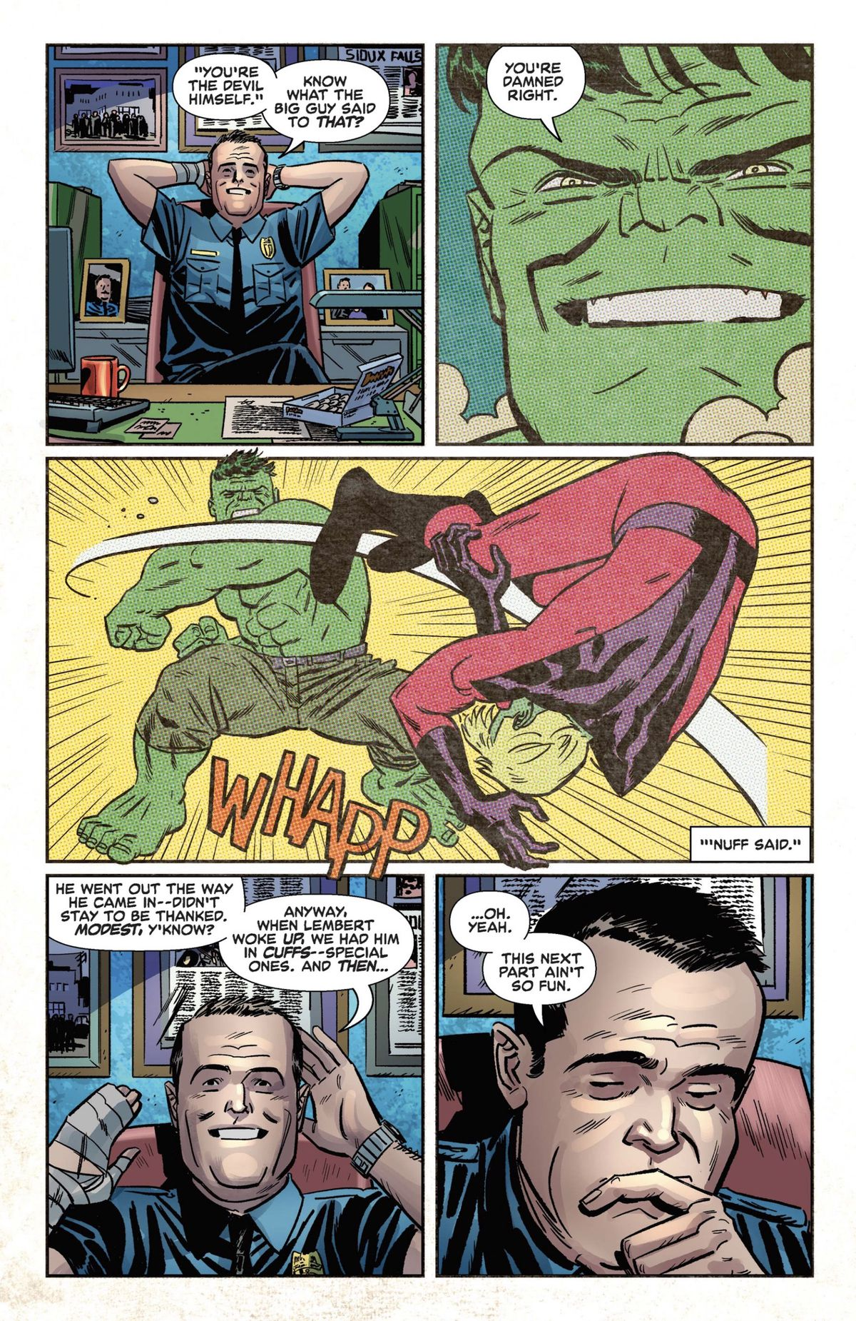 an old timey hulk punches a bad guy as imagined by a security guard