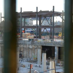 7:03 p.m. The view of the triangle lot building from the grandstand -