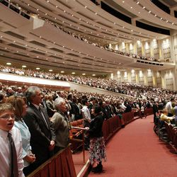 Attendees sing a congregational hymn during the 182nd Annual General Conference for The Church of Jesus Christ of Latter-day Saints in Salt Lake City  Saturday, March 31, 2012.