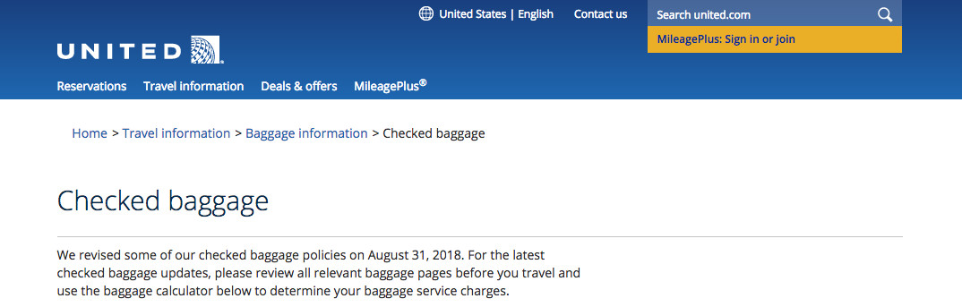 United Airlines Increases Checked Baggage Fees To 30
