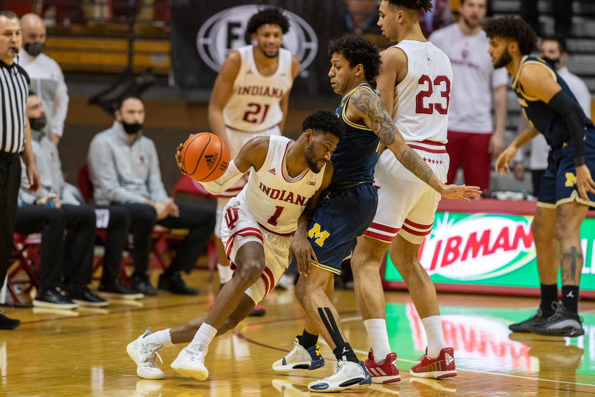 Indiana Hoosiers guard Al Durham dribbles the ball while Michigan Wolverines guard Eli Brooks defends in the second half at Simon Skjodt Assembly Hall.