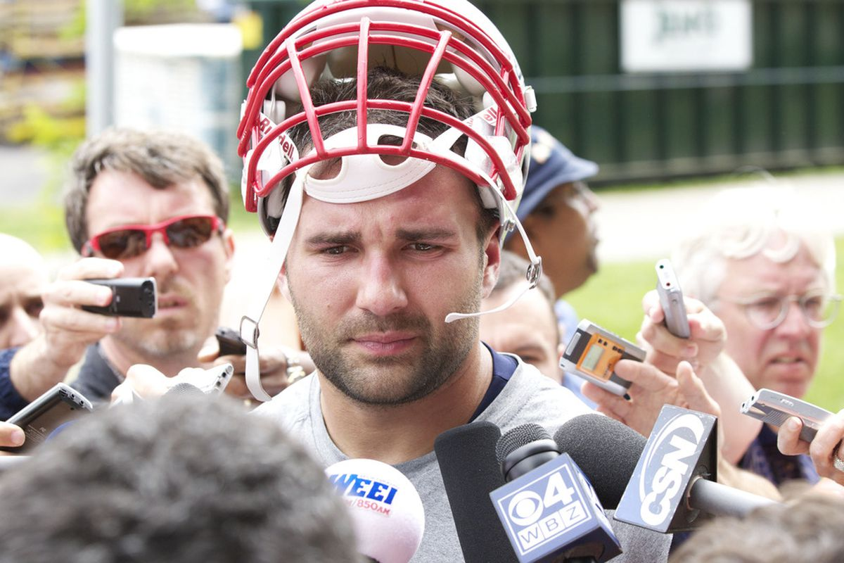 June 12, 2012; Foxborough, MA, USA; New England Patriots outside linebacker Rob Ninkovich (50) takes questions from reporters after mini camp at the Gillette Stadium practice facility. Mandatory Credit: David Butler II-US PRESSWIRE
