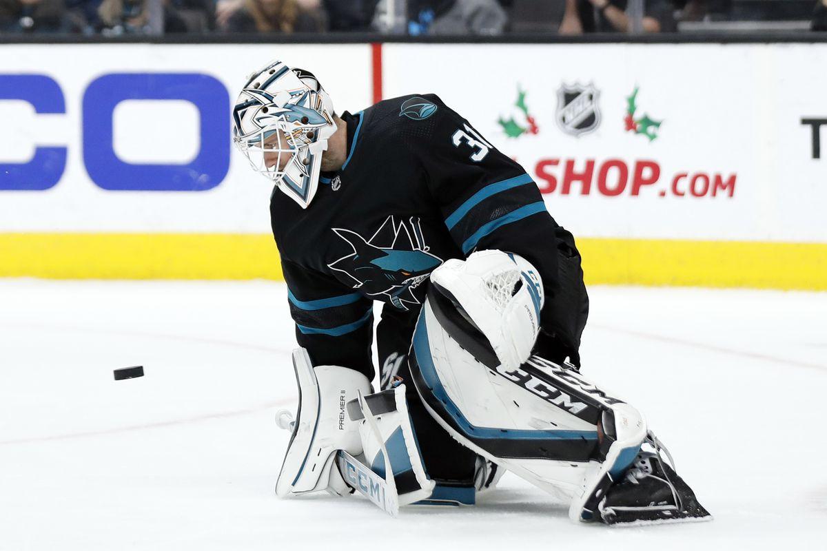 Nov 29, 2019; San Jose, CA, USA; San Jose Sharks goaltender Martin Jones (31) makes a save during the third period against the Los Angeles Kings at SAP Center at San Jose.