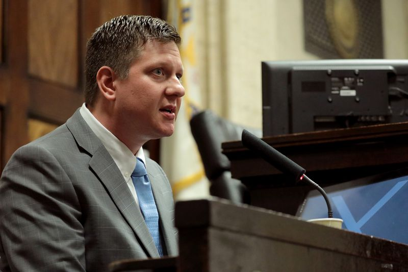 Chicago Police Officer Jason Van Dyke testifies about the McDonald shooting on October 2, 2018.