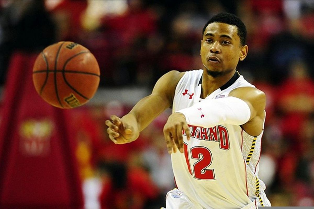 March 4, 2012; College Park, MD, USA; Maryland Terrapins guard Terrell Stoglin (12) passes the ball during the game against the Virginia Cavaliers at Comcast Center. Mandatory Credit: Evan Habeeb-US PRESSWIRE