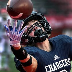 Corner Canyon High School's Cody Hagen (3) can't make the fingertip catch in the end zone during the 6A football state championship game between American Fork and Corner Canyon at Rice-Eccles Stadium in Salt Lake City on Friday, Nov. 22, 2019.