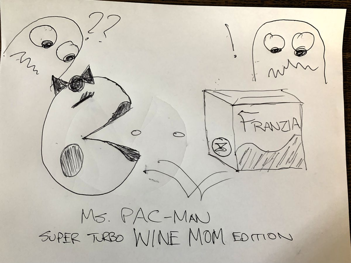 """With her eyes closed and mouth open, Ms. Pac-Man prepares to consume some power pellets and a box of Franzia wine, while a couple of Ghosts look on in terror. At the bottom of the drawing, a caption reads, """"Ms. Pac-Man — Super Turbo WINE MOM Edition"""""""
