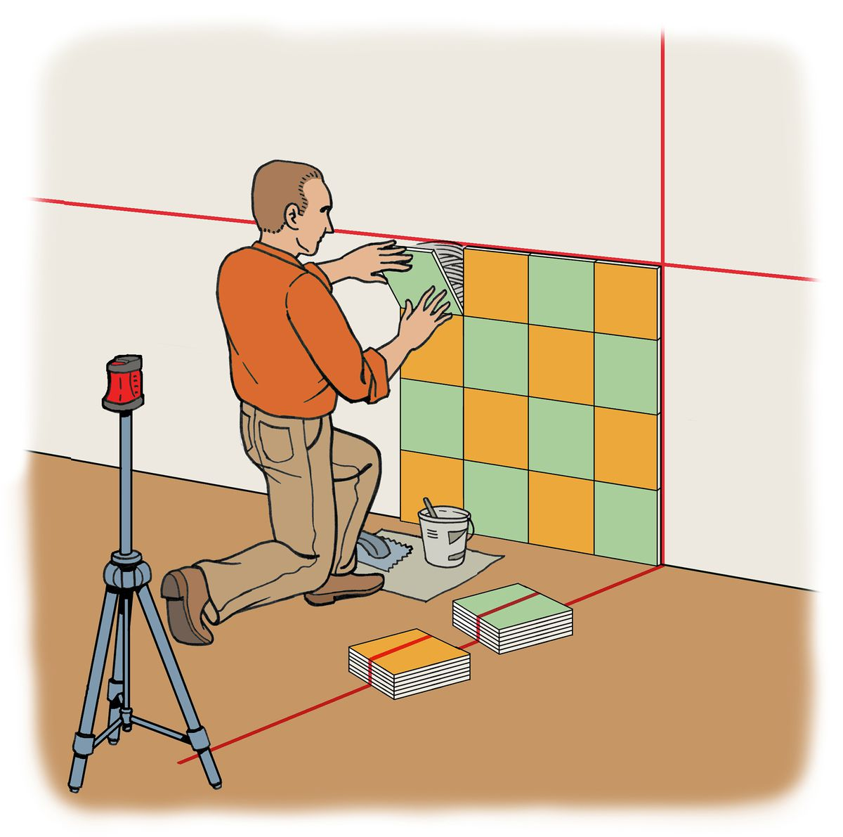 Person using a laser level to mark off where a section of tile will be installed on the wall.