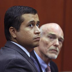 """FILE - In this June 29, 2012 file photo, George Zimmerman, left, and attorney Don West appear before Circuit Judge Kenneth R. Lester, Jr.  Friday, June 29, 2012, during a bond hearing at the Seminole County Criminal Justice Center in Sanford, Fla.   Zimmerman will try to have the murder charge dismissed under Florida's """"stand your ground"""" self-defense law, his attorney said Thursday, Aug. 9, 2012. Zimmerman  is charged with second-degree murder in the shooting of Trayvon Martin."""