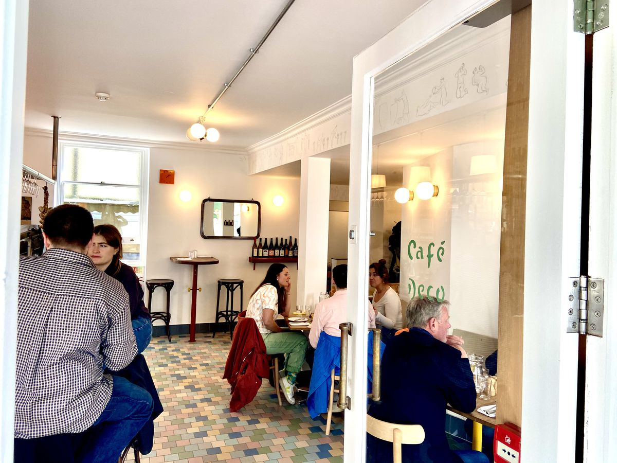Cafe Deco during a busy lunchtime the week dining rooms reopened in London