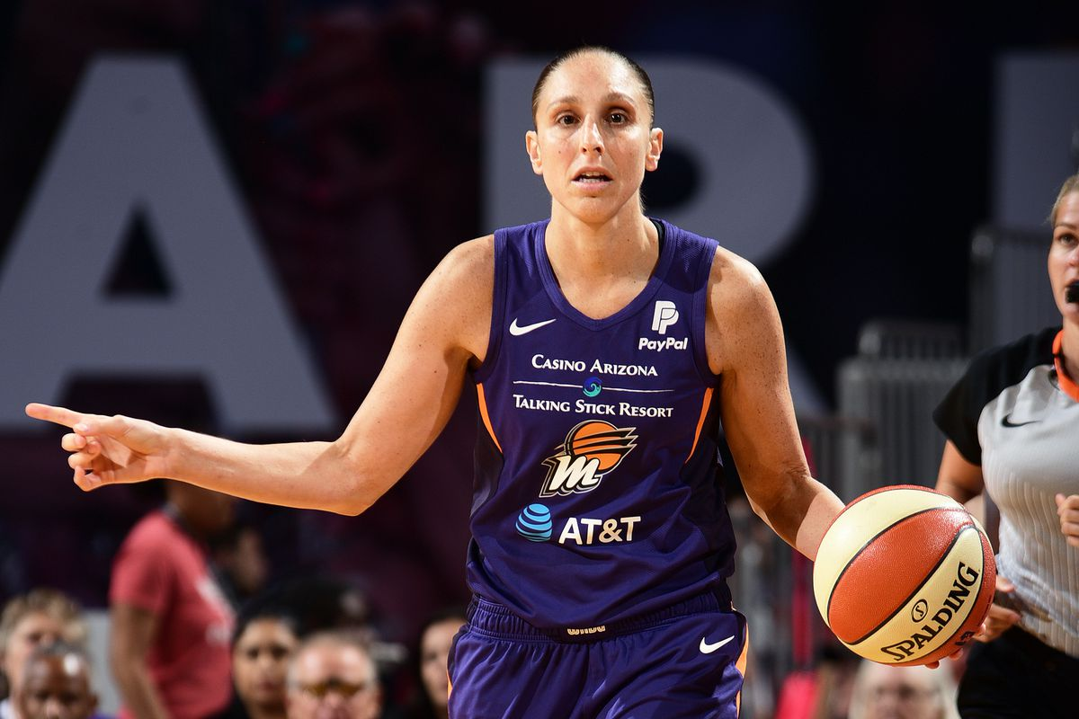 Diana Taurasi of the Phoenix Mercury handles the ball during the game against the Seattle Storm on September 3, 2019 at the Talking Stick Resort Arena, in Phoenix, Arizona.