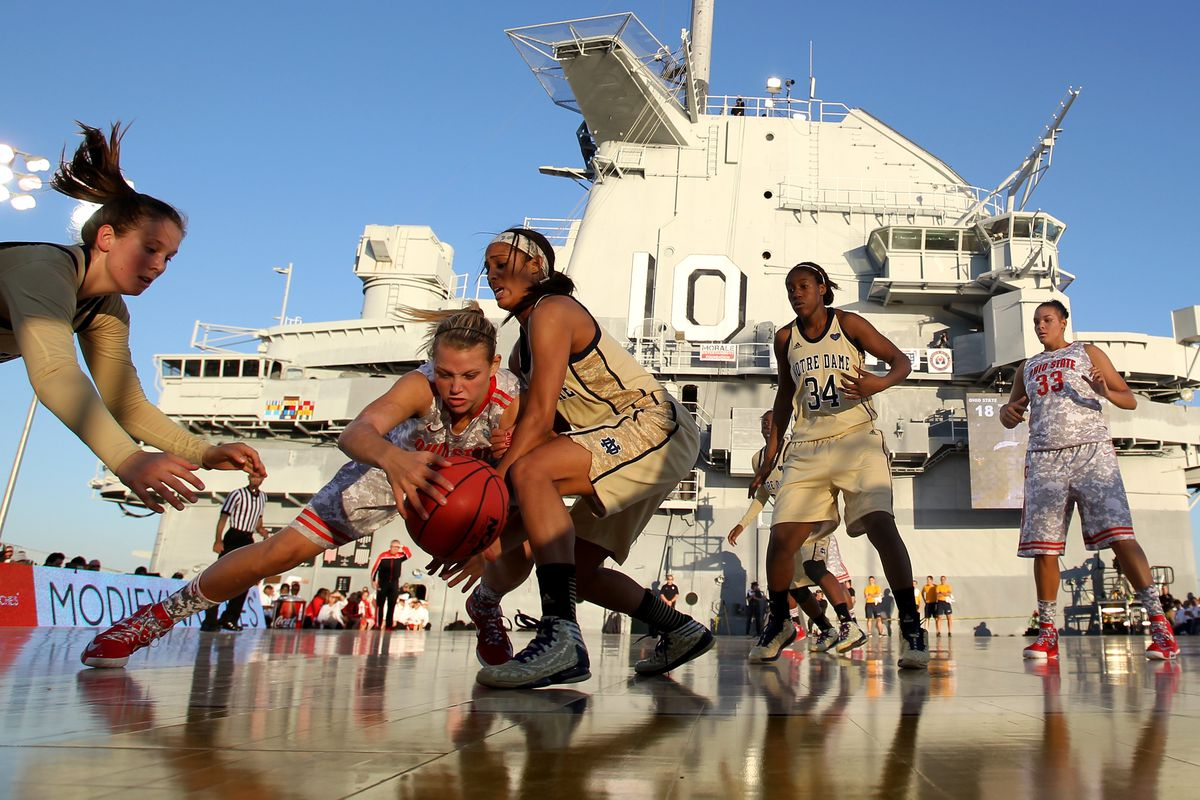 Notre Dame already played a game on an aircraft carrier, so they probably won't be too intimidated by Carver.