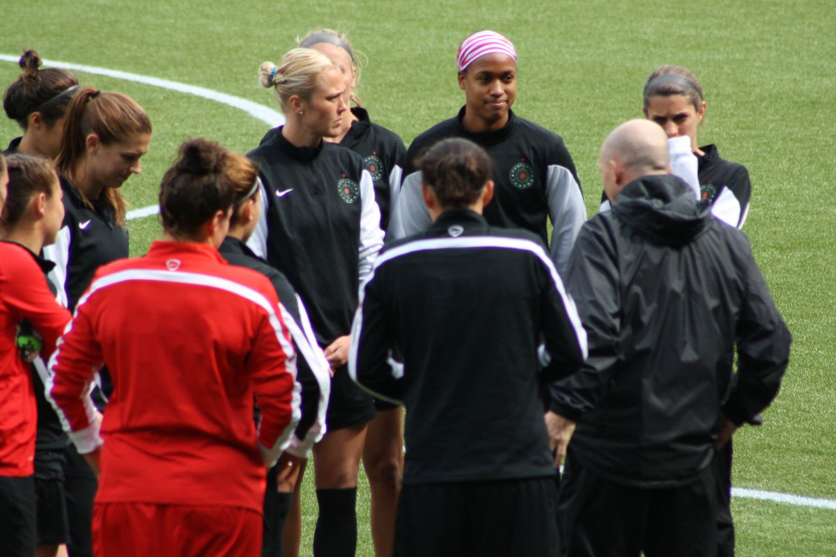 Head Coach Paul Riley speaks to the Thorns during training on May 9, 2014