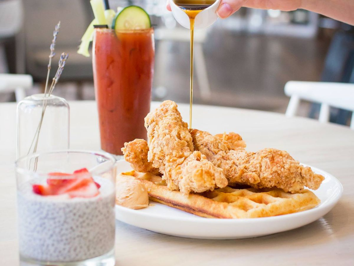 Chicken and waffles at Forthright