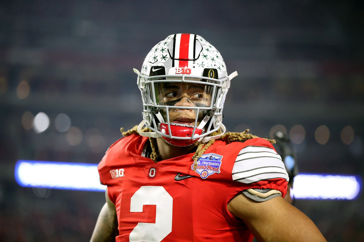 Chase Young #2 of the Ohio State Buckeyes reacts against the Ohio State Buckeyes in the second half during the College Football Playoff Semifinal at the PlayStation Fiesta Bowl at State Farm Stadium on December 28, 2019 in Glendale, Arizona.