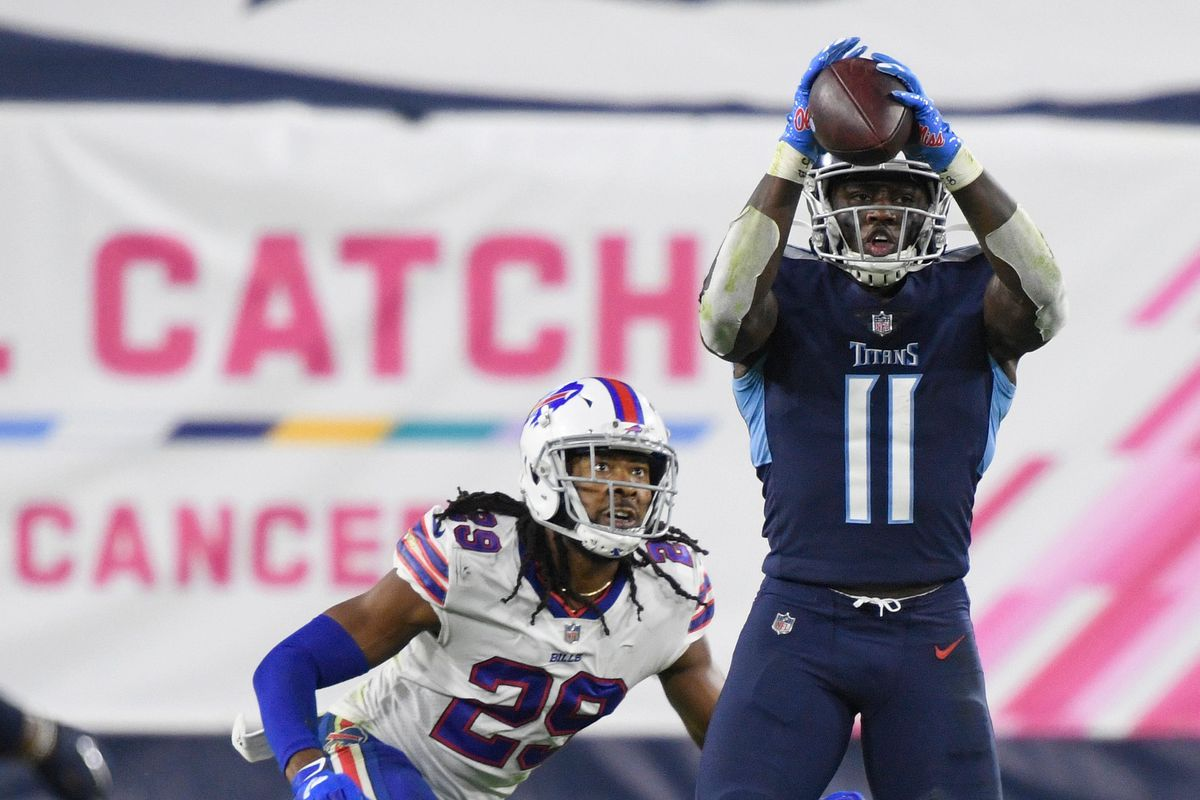 Tennessee Titans wide receiver A.J. Brown (11) makes a catch over Buffalo Bills cornerback Josh Norman (29) during the second quarter at Nissan Stadium Tuesday, Oct. 13, 2020 in Nashville, Tenn.