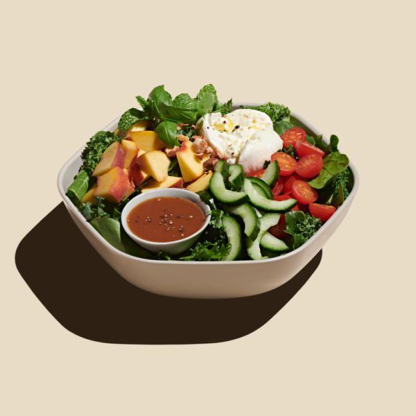 A peach and burrata salad.
