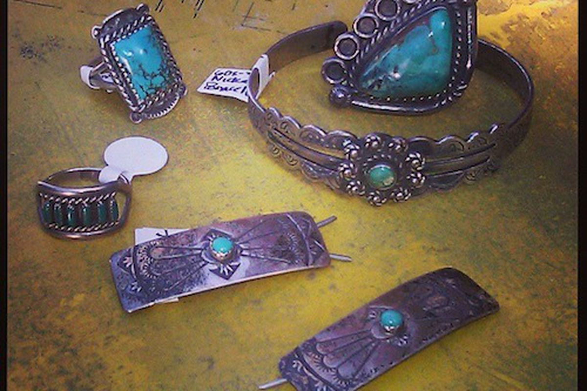 """Vintage Navajo sterling silver and turquoise jewelry at Carousel. Image credit: <a href=""""https://www.facebook.com/ShopCarousel"""">Facebook/Carousel</a>"""