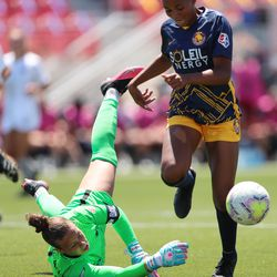 Utah Royals FC forward Tziarra King (3) has the ball knocked away by Sky Blue FC goalkeeper Kailen Sheridan (1) as the Royals and Sky Blue play in theNational Women's Soccer LeagueChallenge Cup at Zions Bank stadium in Herriman on Saturday, July 4, 2020. Utah won 1-0.
