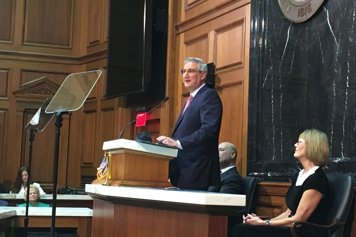 Indiana Gov. Eric Holcomb gives his 2019 State of the State address.