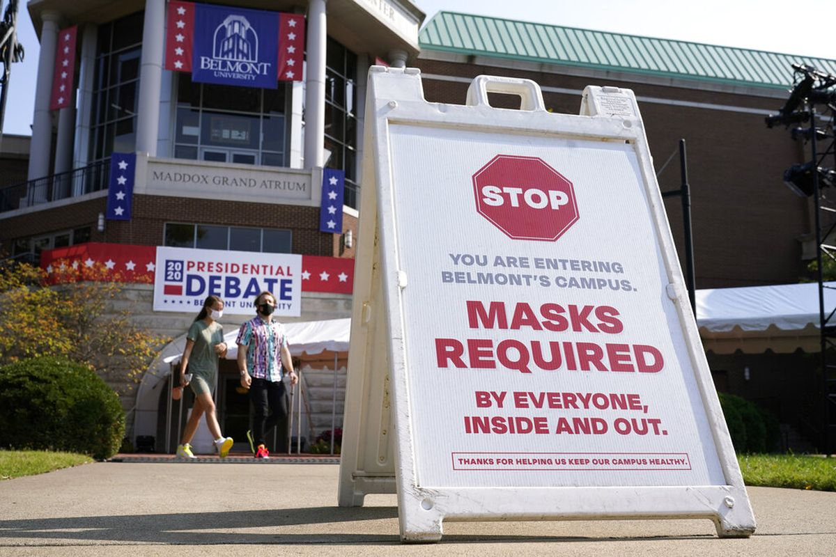 A sign greets visitors outside the Curb Event Center at Belmont University.
