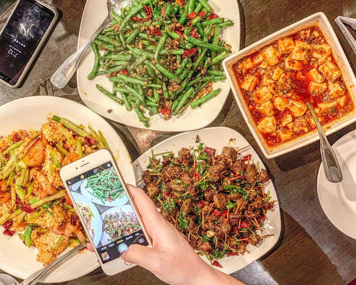 A variety of colorful Sichuanese dishes from Chengdu Taste.