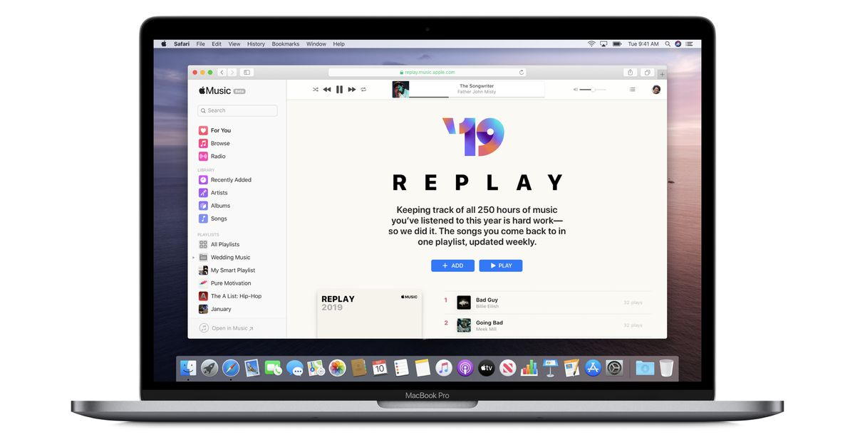 Apple Music Replay compiles your most-played songs from each year into playlists