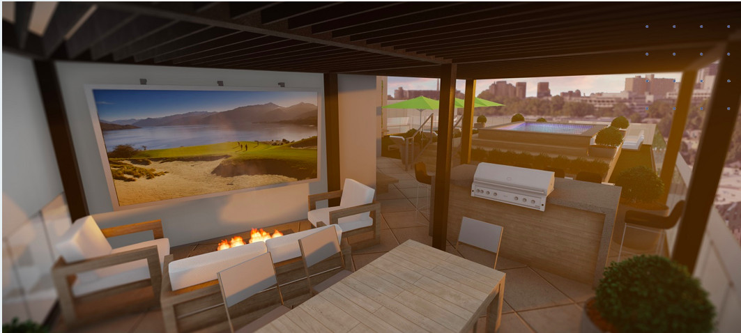 A rooftop lounge in a rendering.