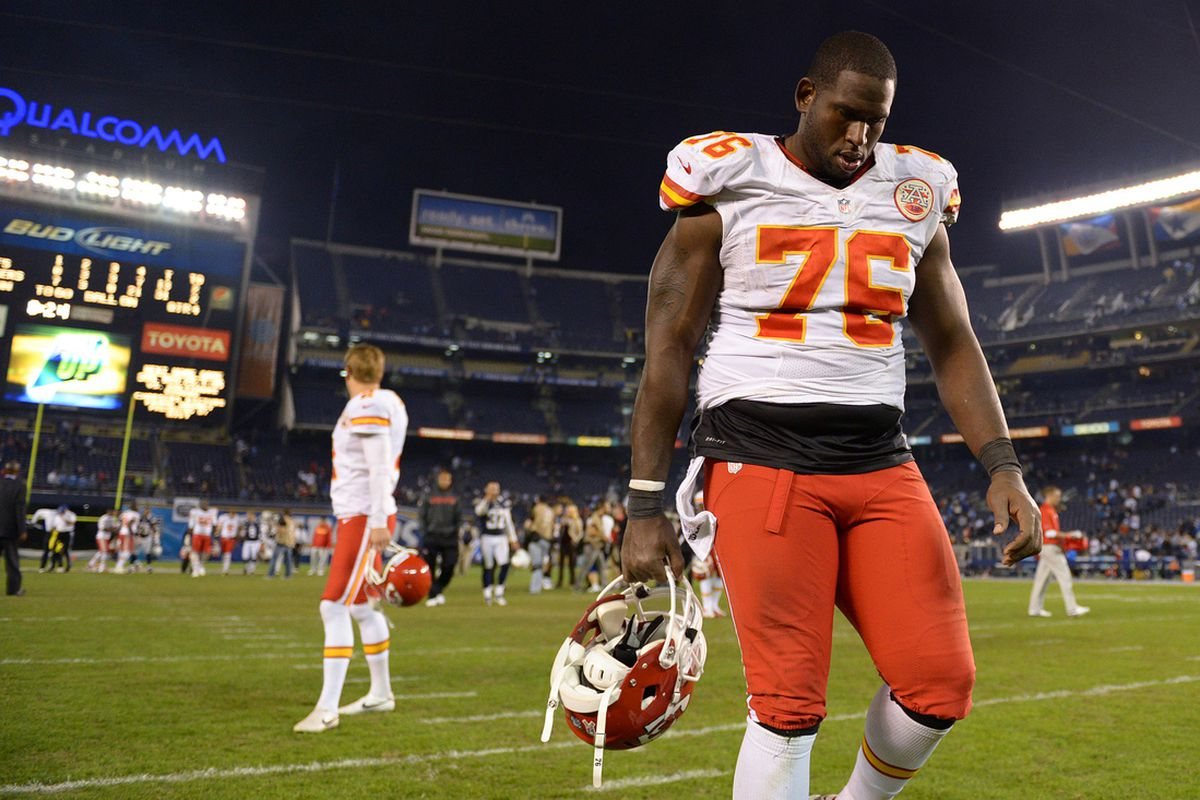 Nov 1, 2012; San Diego, CA, USA; Kansas City Chiefs tackle Branden Albert (76) walks to the locker room after the San Diego Chargers beat the Chiefs 31-13 at Qualcomm Stadium.
