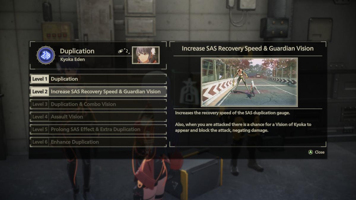 The bond level screen in Scarlet Nexus