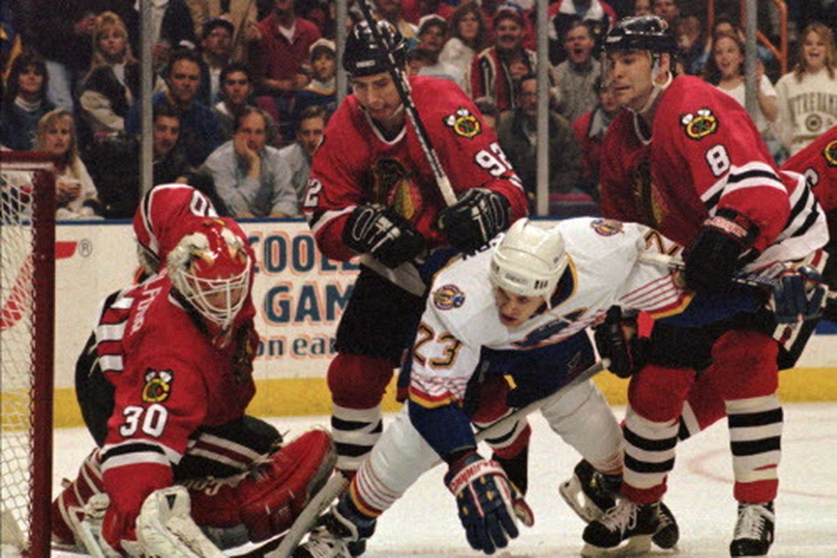 f8cff94a2 Ed Belfour (getting help from Bernie Nicholls and Cam Russell in 1996 vs.  the Blues) was 201-138-56 with 30 shutouts in 415 games with the Blackhawks.