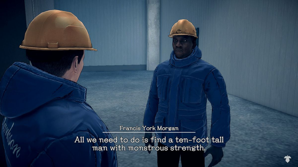 Agent York talks to the sheriff about a 10-foot tall suspect in Deadly Premonition 2: A Blessing in Disguise