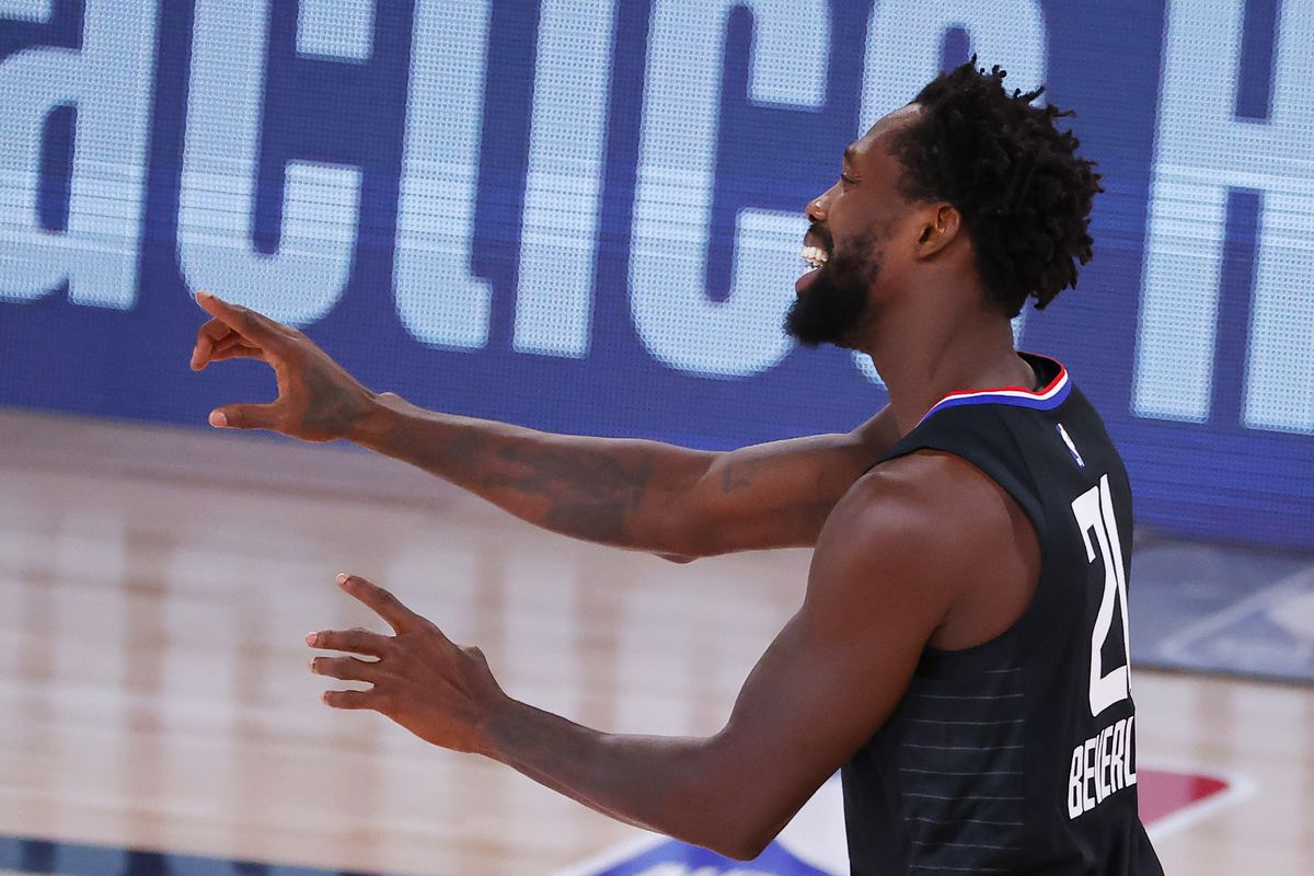 Patrick Beverley of the LA Clippers argues a call against the Dallas Mavericks during the third quarter in Game One of the Western Conference First Round during the 2020 NBA Playoffs at AdventHealth Arena at ESPN Wide World Of Sports Complex on August 17, 2020 in Lake Buena Vista, Florida.
