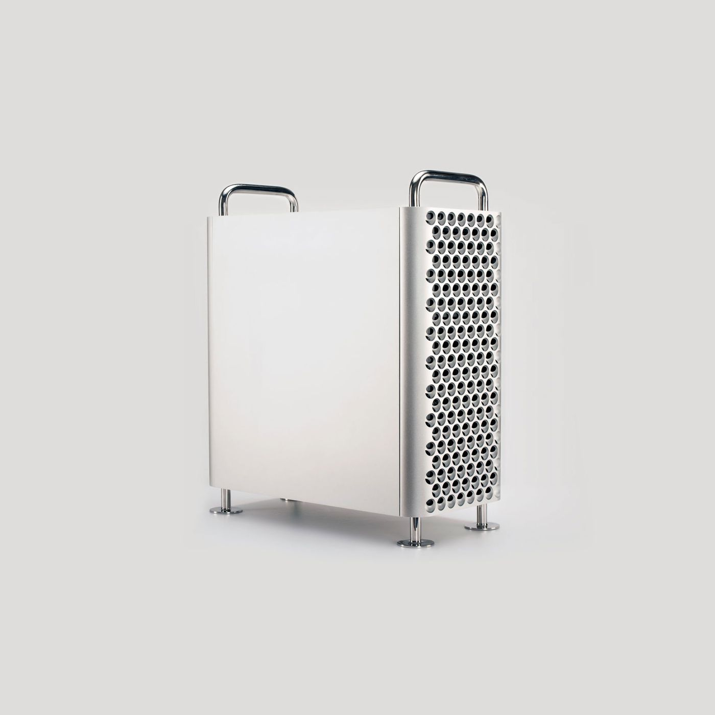 Give your desk some Mac Pro cheese grater chic with this lookalike PC case  - The Verge