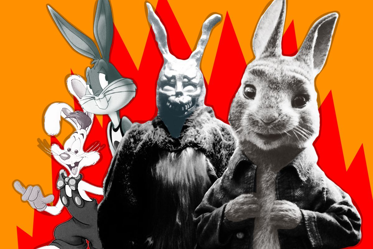 A collage of the Trix rabbit, Bugs Bunny, the rabbit from Donnie Darko,' and Peter Rabbit'