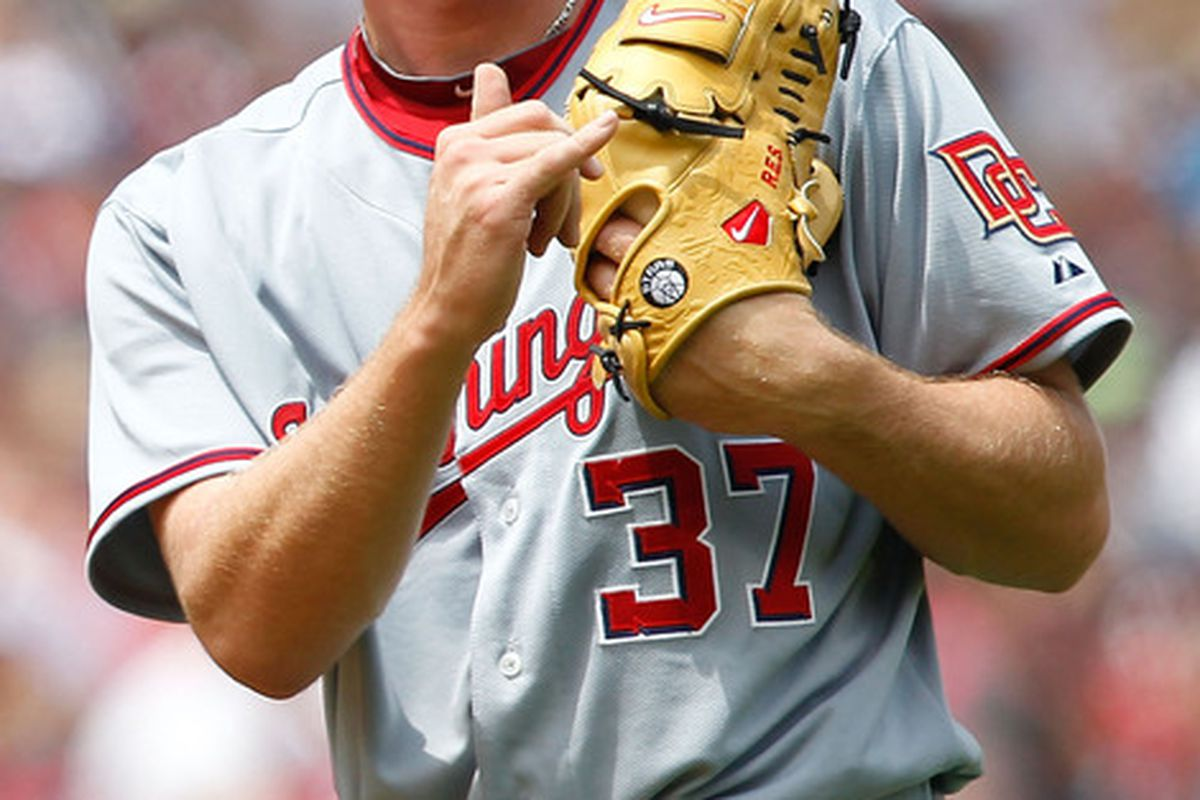 CLEVELAND - JUNE 13:  Stephen Strasburg #37 of the Washington Nationals signals to his infielders during the game against the Cleveland Indians on June 13, 2010 at Progressive Field in Cleveland, Ohio.  (Photo by Jared Wickerham/Getty Images)