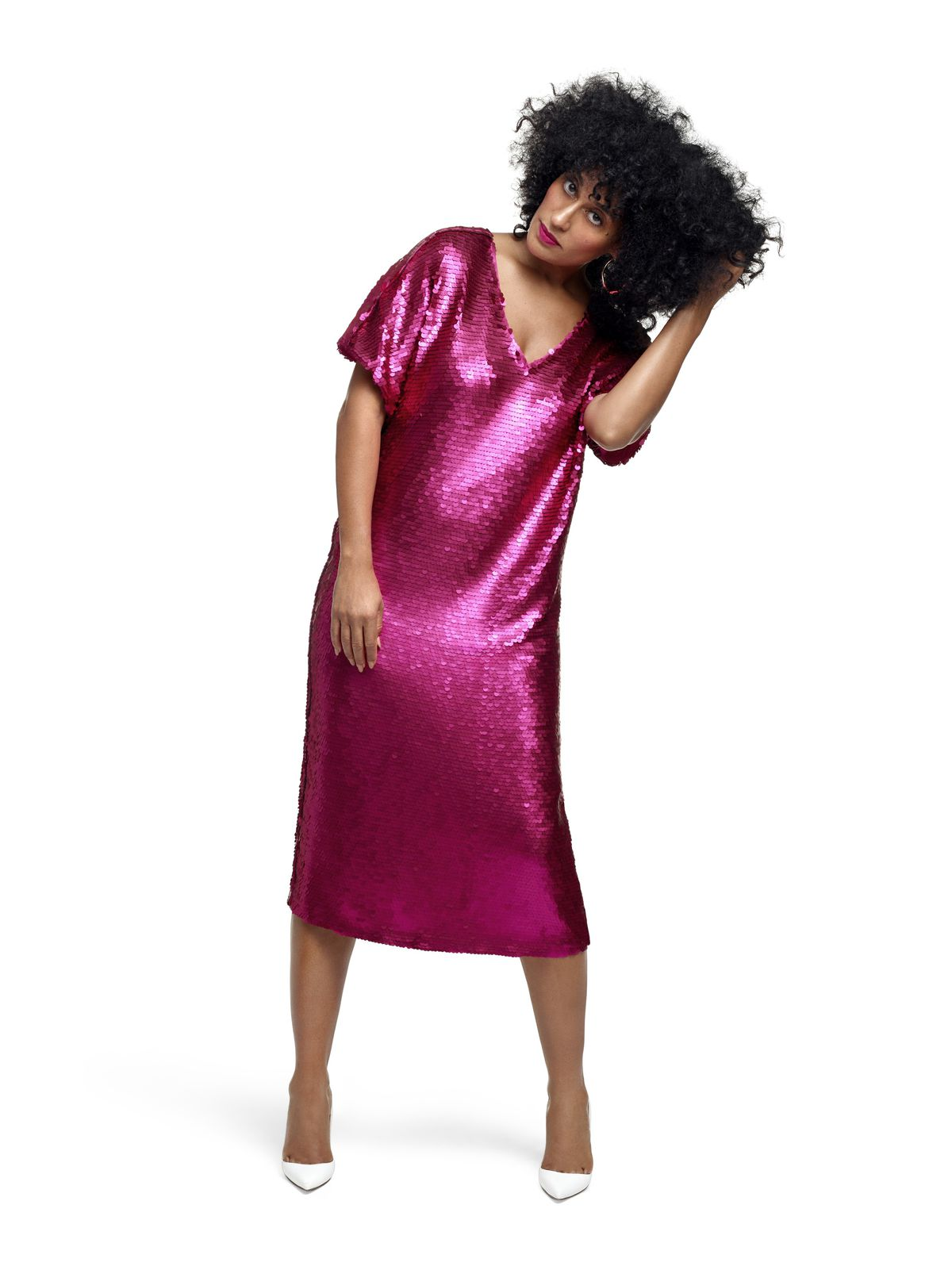 a515201d4f4 Tracee Ellis Ross in Tracee Ellis Ross x JC Penny sweatsuit and heels and sequined  dress