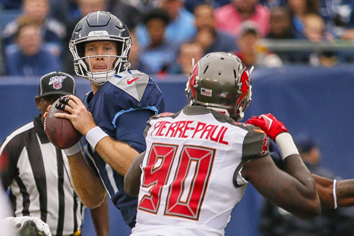 Jason Pierre-Paul of the Tampa Bay Buccaneers rushes quarterback Ryan Tannehill of the Tennessee Titans at Nissan Stadium on October 27, 2019 in Nashville, Tennessee.