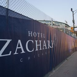 Hotel Zachary banner along Addison