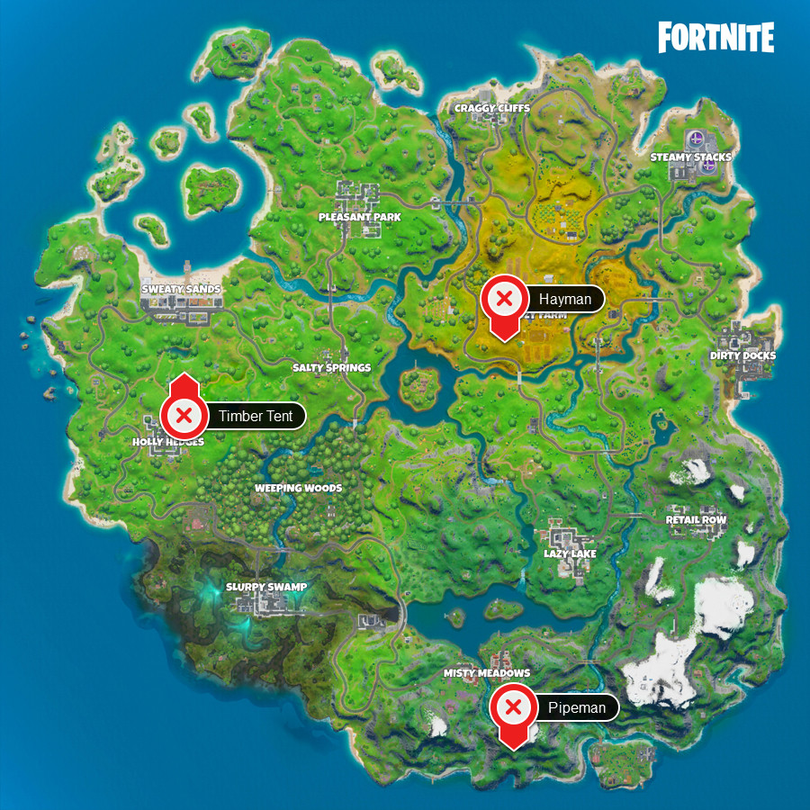 A Fortnite map with the locations of the Timber Tent statues marked