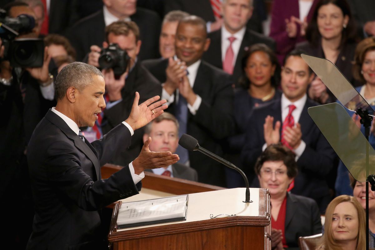 President Barack Obama giving his last State of the Union address to Congress this January. New research says the public is critical of presidents who act without congressional approval.